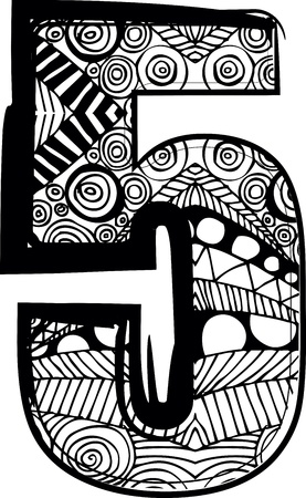 number 5: Number 5 with abstract drawing. Vector illustration