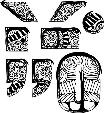 punctuation mark: puntuacion s�mbolo de la marca con el dibujo abstracto. Vectores