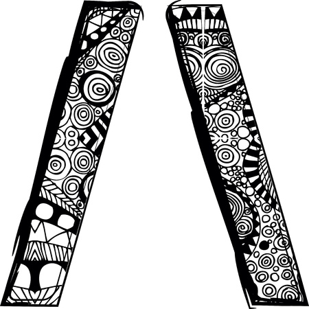 slash: slash symbol with abstract drawing. Vector illustration