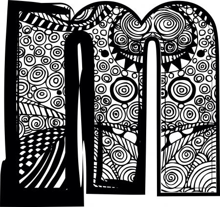 chapiteaux: M Lettre avec dessin abstrait.