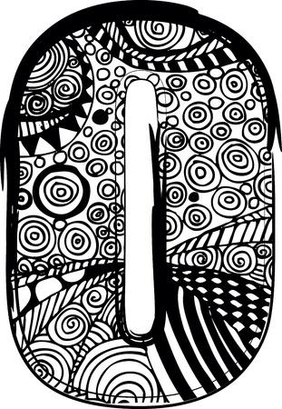 alfabeto graffiti: Lettera o con disegno astratto. Vettoriali