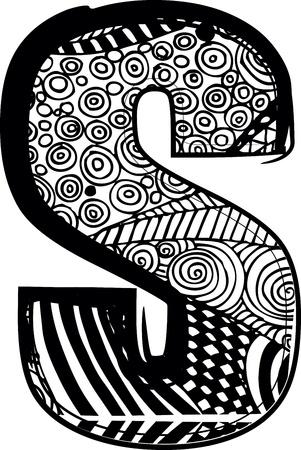 lettre s: S Lettre avec dessin abstrait. Vector illustration