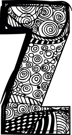 Letter z with abstract drawing. Vector illustration Vector