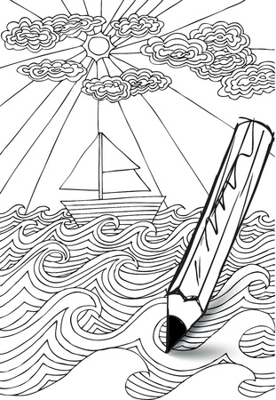 power boat: hand drawn styled sea with clouds, sun and sailor boat. Vector illustration Illustration