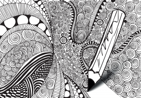 canvas element: Abstract design drawing made by pencil. vector background  Illustration