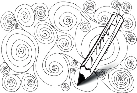 positives: Abstract design drawing made by pencil. vector background Illustration