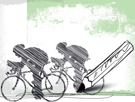 pencil drawing of bikers. Vector illustration Vector