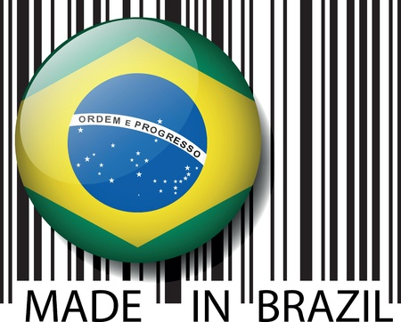 brazil symbol: Made in Brazil barcode. Vector illustration Illustration