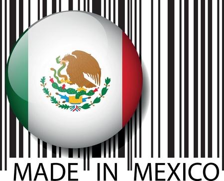bandera mexico: Hecho en M�xico de c�digo de barras. Ilustraci�n vectorial Vectores