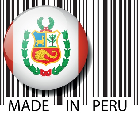 article marketing: Made in Peru barcode. Vector illustration