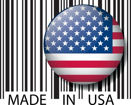 packaging industry: Made in USA barcode. Vector illustration