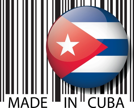 bandera cuba: Hecho en c�digo de barras de Cuba. Ilustraci�n vectorial