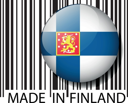 finland: Made in Finland barcode. Vector illustration