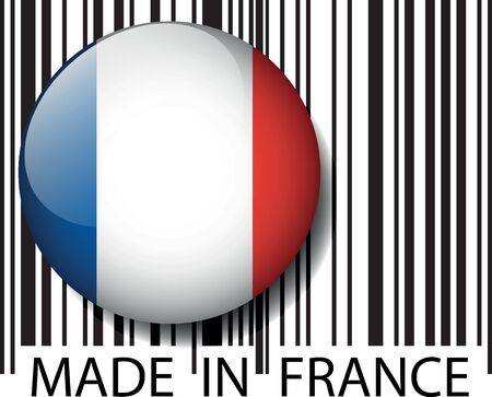 article marketing: Made in France barcode. Vector illustration