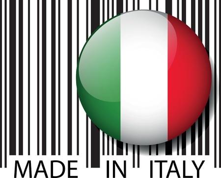 bandiera italiana: Codice a barre Made in Italia. Vector illustration Vettoriali