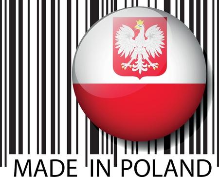 bandera de polonia: Hecho en código de barras de Polonia. Ilustración vectorial