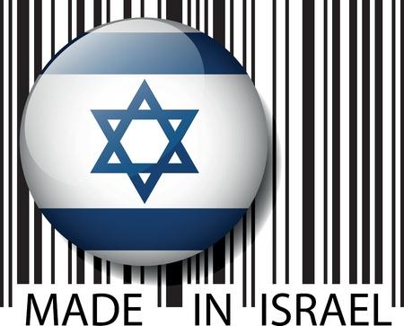 israeli: Hecho en c�digo de barras de Israel. Ilustraci�n vectorial