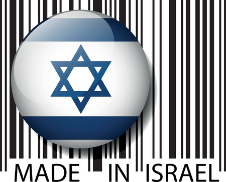 and israel: Made in Israel barcode. Vector illustration