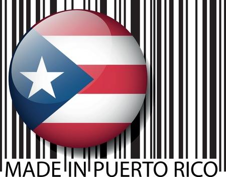 bandera de puerto rico: Hecho en Puerto Rico de código de barras. Ilustración vectorial