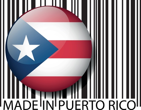 flag pin: Made in Puerto Rico barcode. Vector illustration