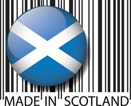 scottish flag: Codice a barre Made in Scozia. Vector illustration