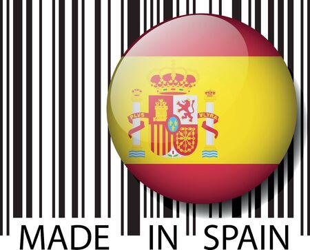 Кнопки: Сделано в Испании штрих-кода. Векторная иллюстрация
