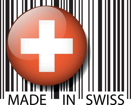 Made in Swiss barcode. Vector illustration Vector