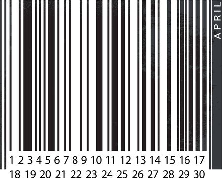 Generic APRIL Calendar, Barcode Design. vector illustration Stock Vector - 14457303