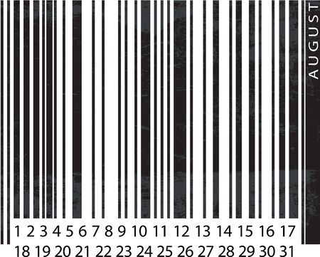 Generic AUGUST Calendar, Barcode Design. vector illustration Vector