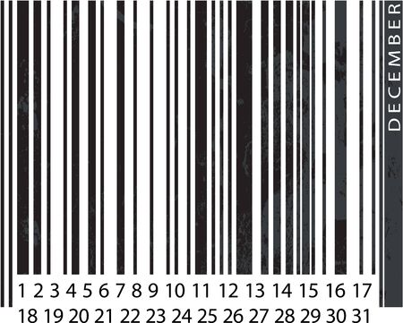 Generic DECEMBER Calendar, Barcode Design. vector illustration Vector