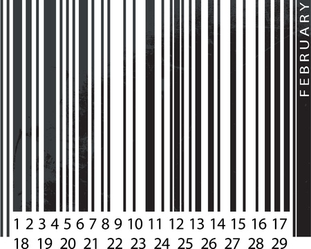 Generic FEBRUARY Calendar, Barcode Design. vector illustration Vector