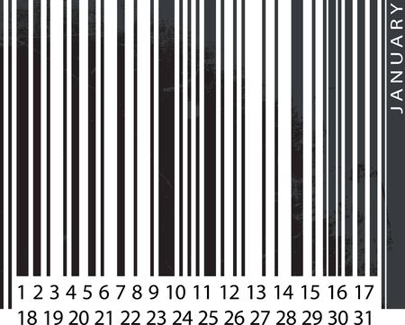 Generic JANUARY Calendar, Barcode Design. vector illustration Vector