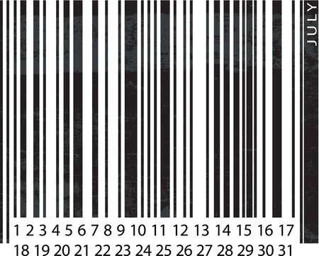 Generic JULY Calendar, Barcode Design. vector illustration Vector