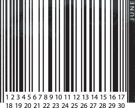 Generic JUNE Calendar, Barcode Design. vector illustration Vector