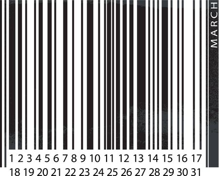 Generic MARCH Calendar, Barcode Design. vector illustration Vector