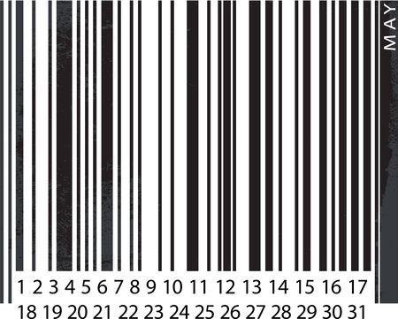 Generic MAY Calendar, Barcode Design. vector illustration Vector