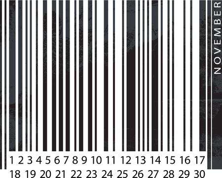 Generic NOVEMBER Calendar, Barcode Design. vector illustration Vector