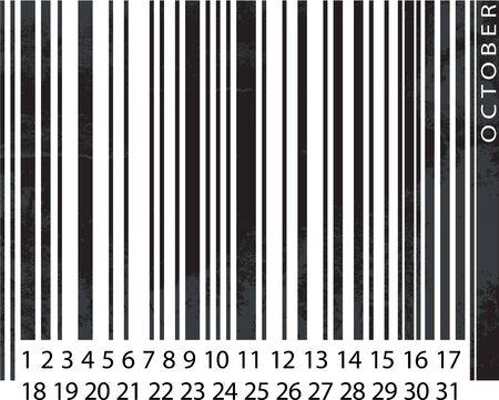 Generic OCTOBER Calendar, Barcode Design. vector illustration Vector