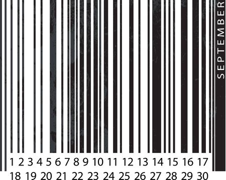Generic SEPTEMBER Calendar, Barcode Design. vector illustration Vector