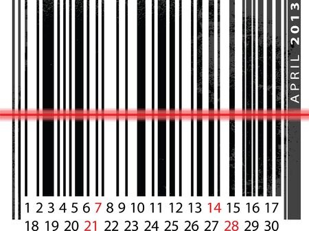 APRIL 2013 Calendar, Barcode Design. vector illustration Vector