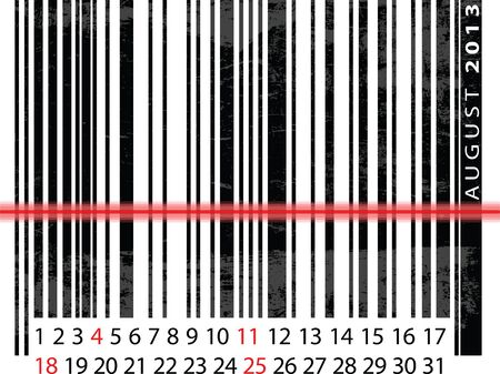AUGUST 2013 Calendar, Barcode Design. vector illustration Vector