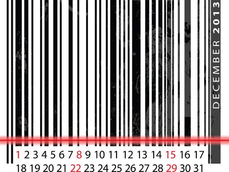 DECEMBER 2013 Calendar, Barcode Design. vector illustration Vector