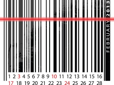 FEBRUARY 2013 Calendar, Barcode Design. vector illustration Vector