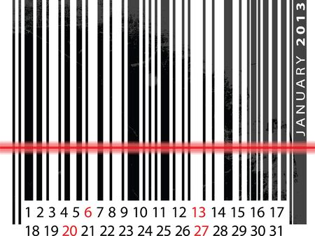 JANUARY 2013 Calendar, Barcode Design. vector illustration Stock Vector - 14457253