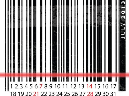 JULY 2013 Calendar, Barcode Design. vector illustration Stock Vector - 14457305