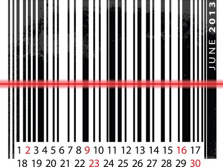 JUNE 2013 Calendar, Barcode Design. vector illustration Vector