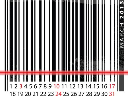MARCH 2013 Calendar, Barcode Design. vector illustration Vector