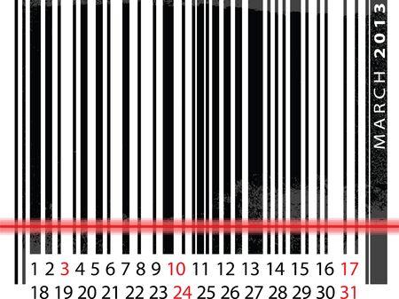 MARCH 2013 Calendar, Barcode Design. vector illustration Stock Vector - 14457261