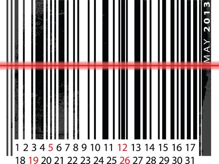 MAY 2013 Calendar, Barcode Design.   illustration Stock Vector - 14457252