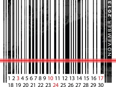 NOVEMBER 2013 Calendar, Barcode Design. vector illustration Vector